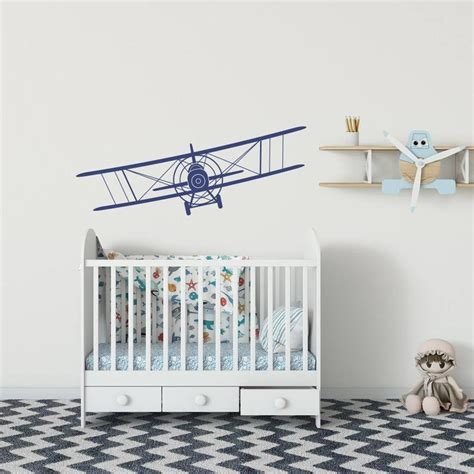 Shop with afterpay on eligible items. Airplane Nursery Wall Decal Biplane Removable Wall Decal ...