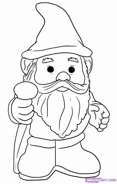 Gnome Coloring Draw Step Pages Drawing Garden