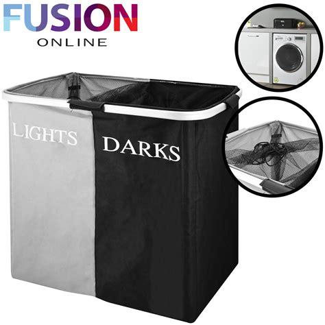 Large Folding Lights & Darks Laundry Sorter Hamper Bin Bag