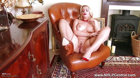Big Tits Blonde Tease In Crotchless Pantyhose Red Heels