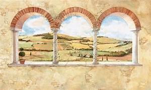New XL TUSCAN VIEW WALL MURAL Brick Arch & Vineyard ...