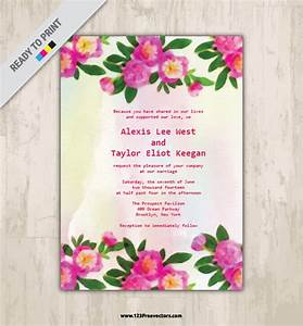watercolor floral wedding invitation 123freevectors With 123 wedding invitations online
