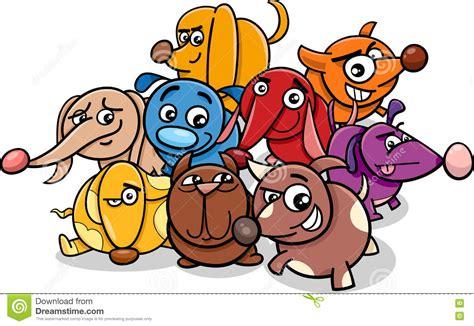 Funny Cartoon Dog Characters Stock Vector