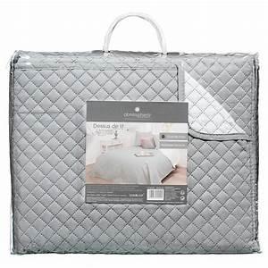 Dessus De Lit Blanc : dessus de lit 2 taies bico 240x260cm gris blanc ~ Teatrodelosmanantiales.com Idées de Décoration