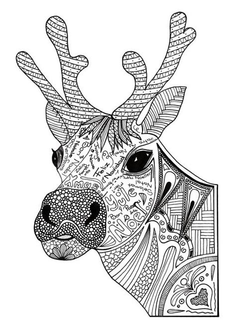 Christmas Reindeer Adult Coloring Page | FaveCrafts.com