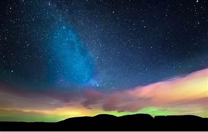Sky Lights Northern Stars Night Horizon Clouds