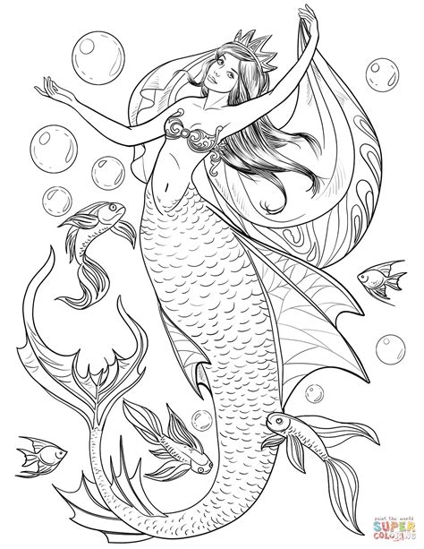 mermaid coloring page  printable coloring pages