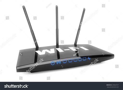 3d modern wifi router on a white background stock