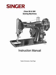 Singer 1950s Sewing Machine Manual Class 99  99k