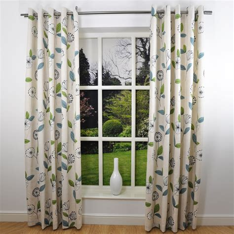 marika modern floral print eyelet curtains teal
