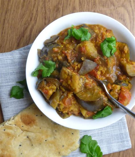 slow cooked aubergine  lentil curry