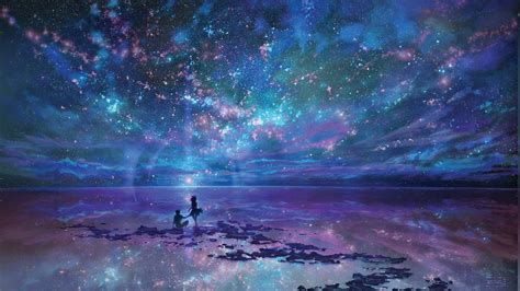 wallpaper landscape painting anime galaxy water