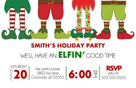 Holiday Christmas Party Invitation Elfin Good Time Elf Blue And Brown Living Room Ideas Dining Furniture Australia Gray Walls Black Contemporary Pictures White Chair Fabrics Colours For The
