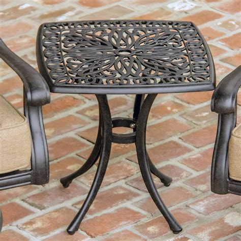 rosedown square cast aluminum patio end table by lakeview