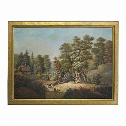 Landscape Oil Painting Western Antique 19th Cabin