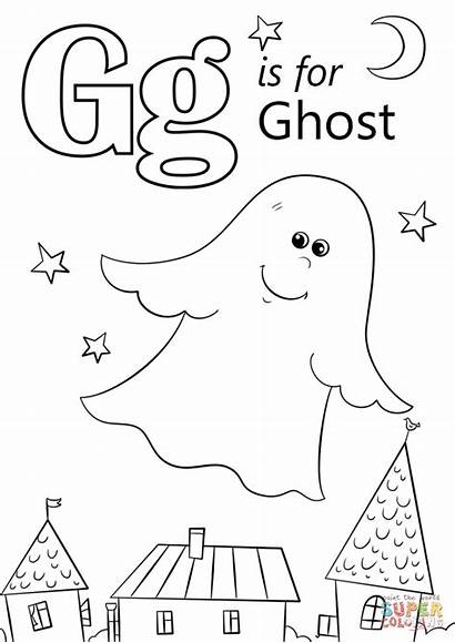 Letter Coloring Pages Printable Ghost Colorings