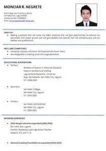 welcome to s sle resume format exles