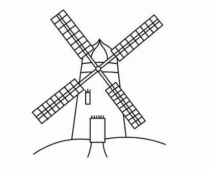 Windmill Mill Clipart Clip Wind Drawing Dutch