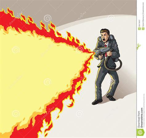 businessman  flame thrower stock vector illustration