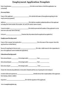 Sample Job Application Template