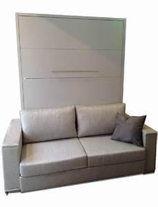 Lit Armoire Canapé : armoire lit escamotable lyon canape integre couchage 160 20 200 cm profondeur 45cm ~ Teatrodelosmanantiales.com Idées de Décoration
