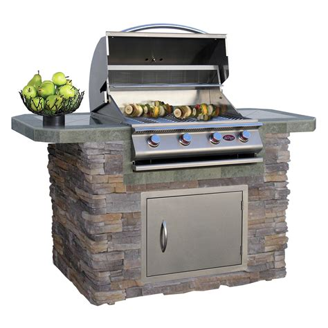 Cal Flame 6' Natural Stone And Tile Grill Island With 4
