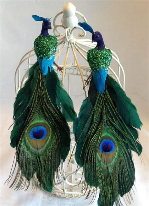 christmas  green peacock ornament tree topper decoration