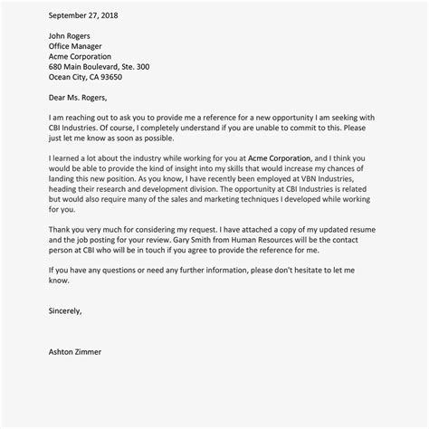Asking For A Reference Letter by Sle Letters And Emails To Ask For A Reference