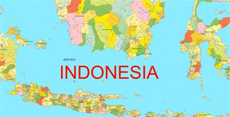 indonesia map printable admin  exact vector map full