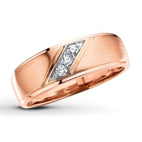 men s wedding band 1 10 ct tw diamonds 10k rose gold