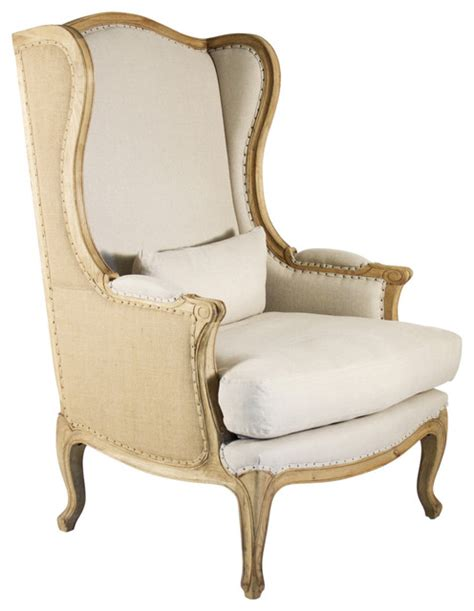 country high back linen wing chair