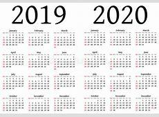 Calendario per 2019 e 2020 illustrazione vettoriale