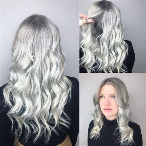 wavy textured layered cut  silver color  grey shadow roots  latest hairstyles
