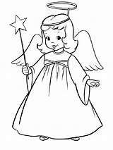 Coloring Angel Christmas Pages Printable Holiday sketch template