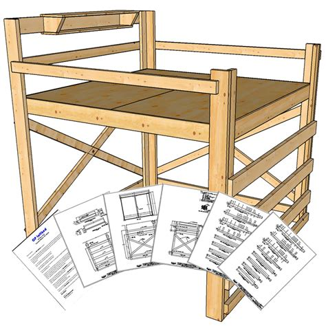 how to build a full size loft bed with desk king size loft bed plans tall height op loftbed