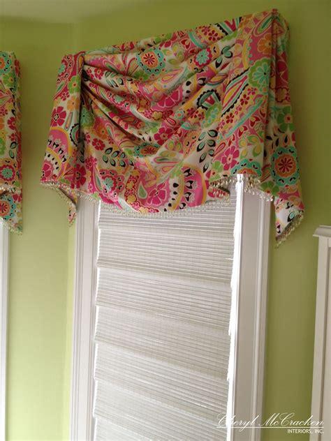 teenage girls bedroom board mounted swag valance  bead