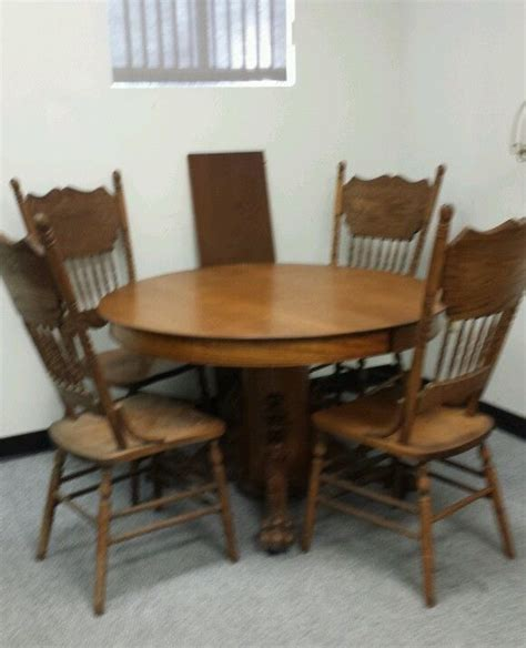 antique oak claw foot dining table 2