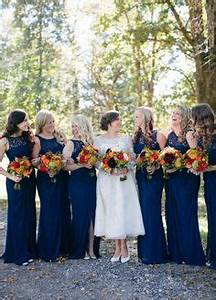 shades of blue bridesmaid dresses and bridesmaid on pinterest With navy dress for fall wedding