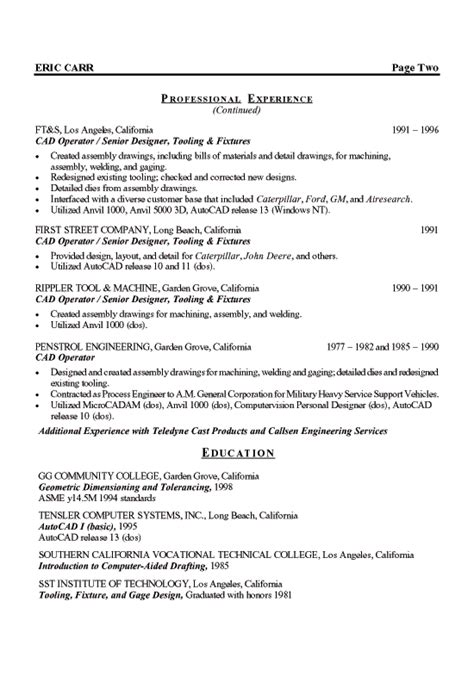 mechanical designer resume