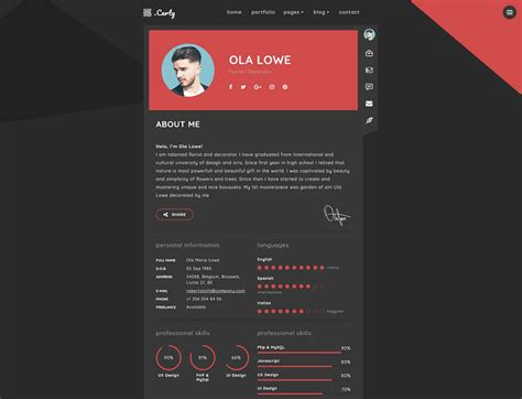 Themes Resume Website by 20 Top Resume Website Templates For Cvs 2017 Colorlib