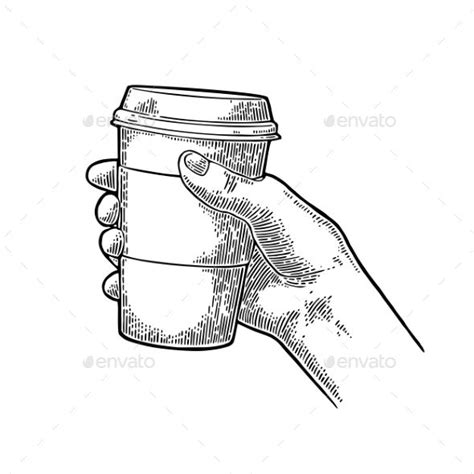 Personalised mugs photo mugs coffee mugs custom text mugs able. Hand Holding a Disposable Cup of Coffee | Coffee cup drawing, Tea cup drawing, Hand sketch