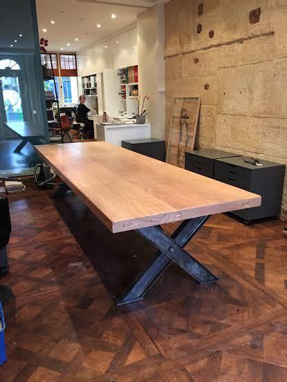 meuble de bureau design table x ipn plateau en chêne robin sicle