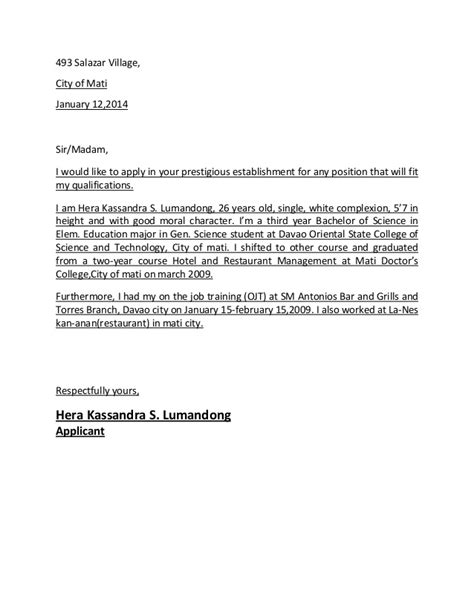sle letter of application application letter sle application letter sle 4 sle 50916