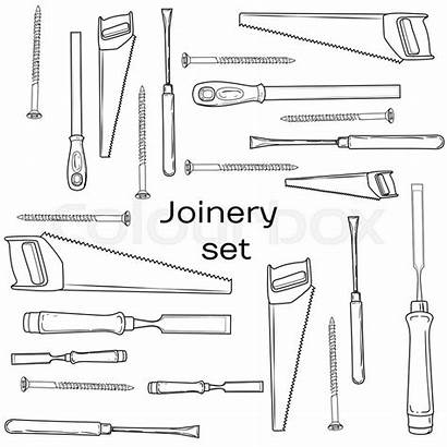 Joinery Tools Vector Icons Carpenter Character Screwdriver