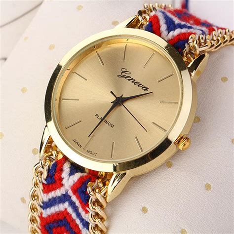 Fashion Weaved Braided Blue gofuly knitted braided weaved rope band wristwatch
