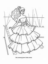 Coloring Barbie Evening Gown Doll Drawing Colour Princess Button Computer Sky Printer sketch template
