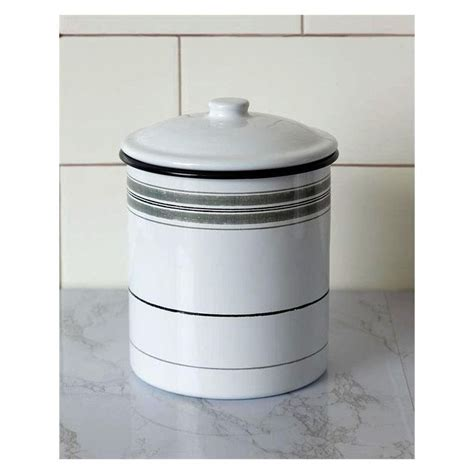 gray striped enamelware kitchen canister   kitchen