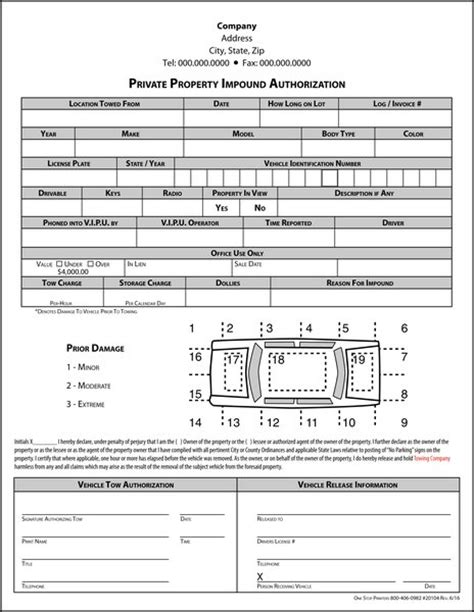 Towing Company Private Property Impound Authorization