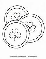 Coins Coloring Gold Pot St Printable Pages Patricks Preschool Lucky Shamrock Activities Rainbow sketch template