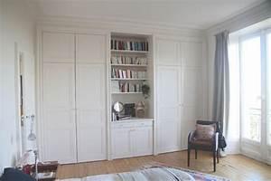placards sur mesure portes ouvrantes medium blanc moulures With porte armoire sur mesure